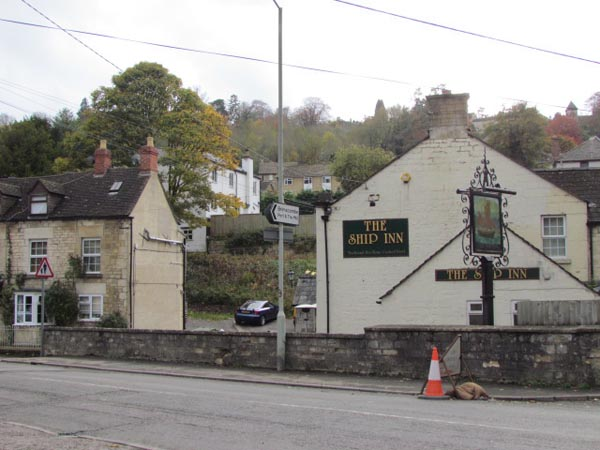 The pub is dropped down, at a lower level than the present road.