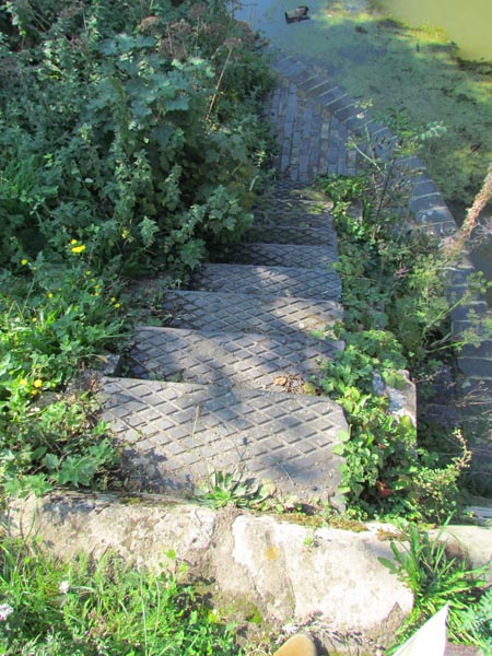 A set of steps lead down from the lockside to the edge of the water. They are made of blue bricks and have a diamond pattern, which would help to give a grip in wet weather.